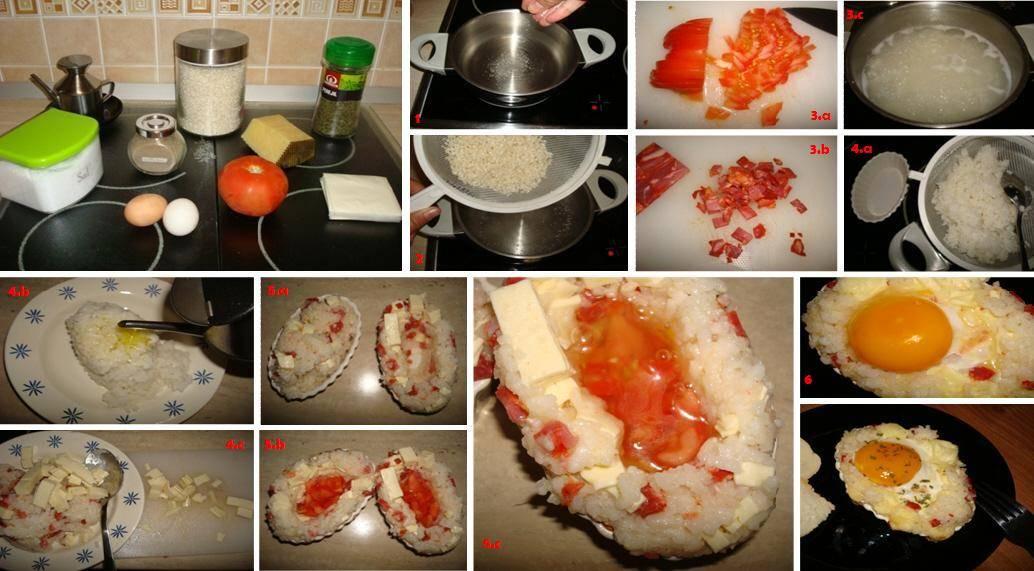 Paso a paso de la receta de barcas de arroz, huevo, chorizo y queso