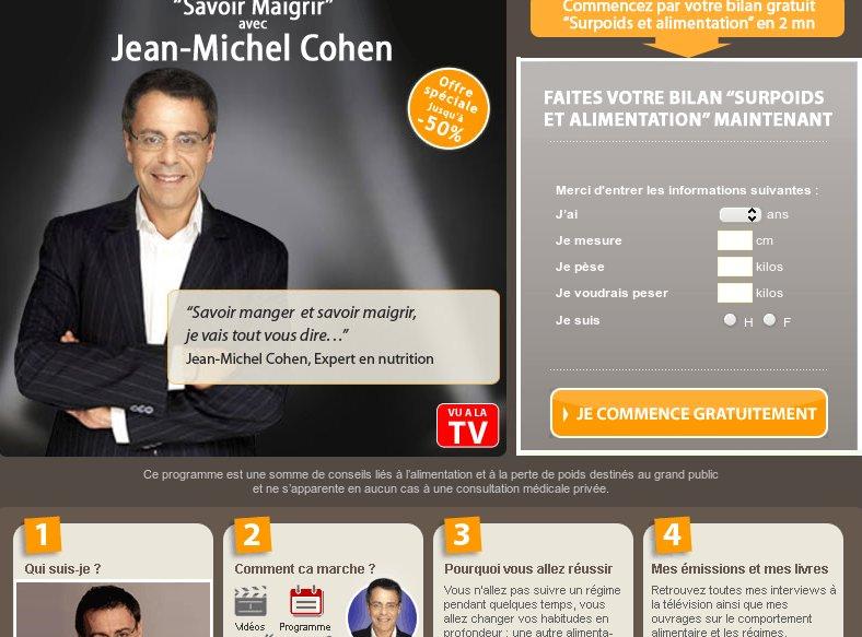 Vista de la página web de Jean Michel Cohen