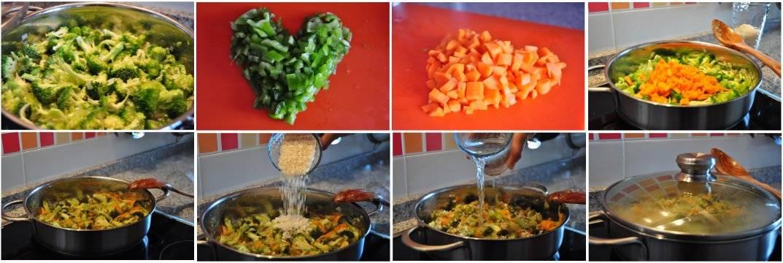 Paso a paso del proceso de la receta de arroz tres verduras
