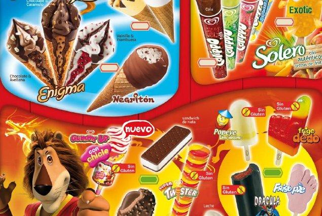 Cartel de helados y polos de la famosa marca Frigo