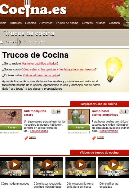 Sección de trucos de la web Cocina.es