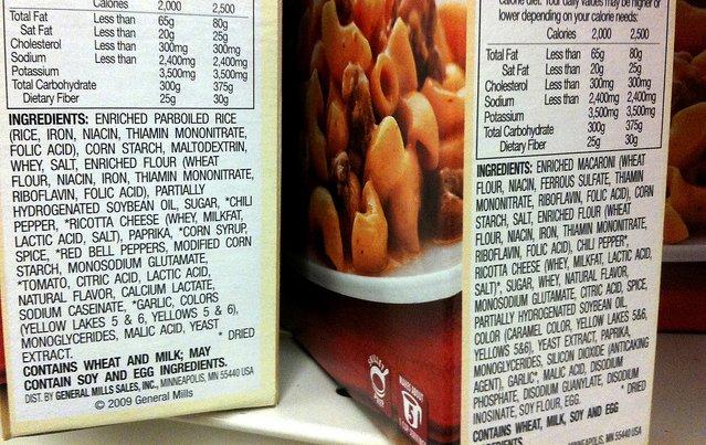Grasas vegetales en la lista de ingredientes de un alimento