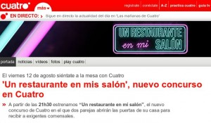 Web de Cuatro anunciando el estreno de Un restaurante en mi salón