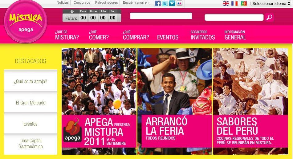 Web oficial de la Feria Gastronómica Mistura, en Lima (Perú)