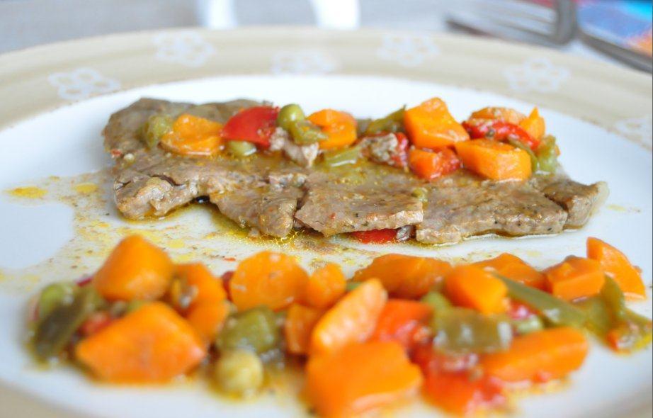 Filetes de babilla de ternera con verduras
