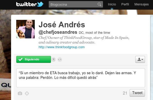 Espacio en Twitter del chef José Andrés