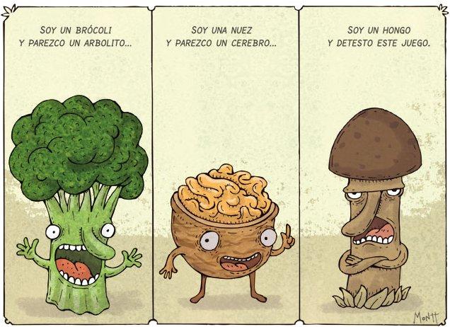 Humor gráfico en la cocina: el chiste del brócoli, la nuez y el hongo