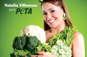 Natalia Villaveces vestida, en el cartel de apoyo al vegetarianismo