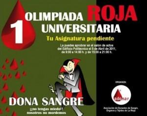 Cartel de la II Olimpiada Roja Universitaria, con drácula y mucha sangre.