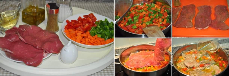 Receta paso a paso: filetes de babilla de ternera con verduras