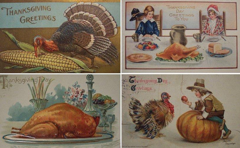 Postales típicas del Día de acción de gracias (Thanksgiving Day)