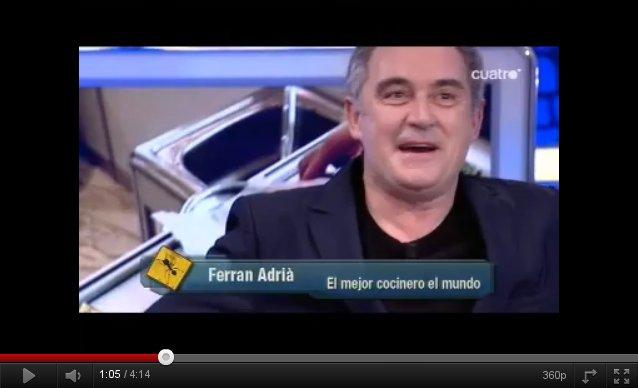 Vídeo: Ferran Adriá anuncia el cierre de El Bulli en El Hormiguero