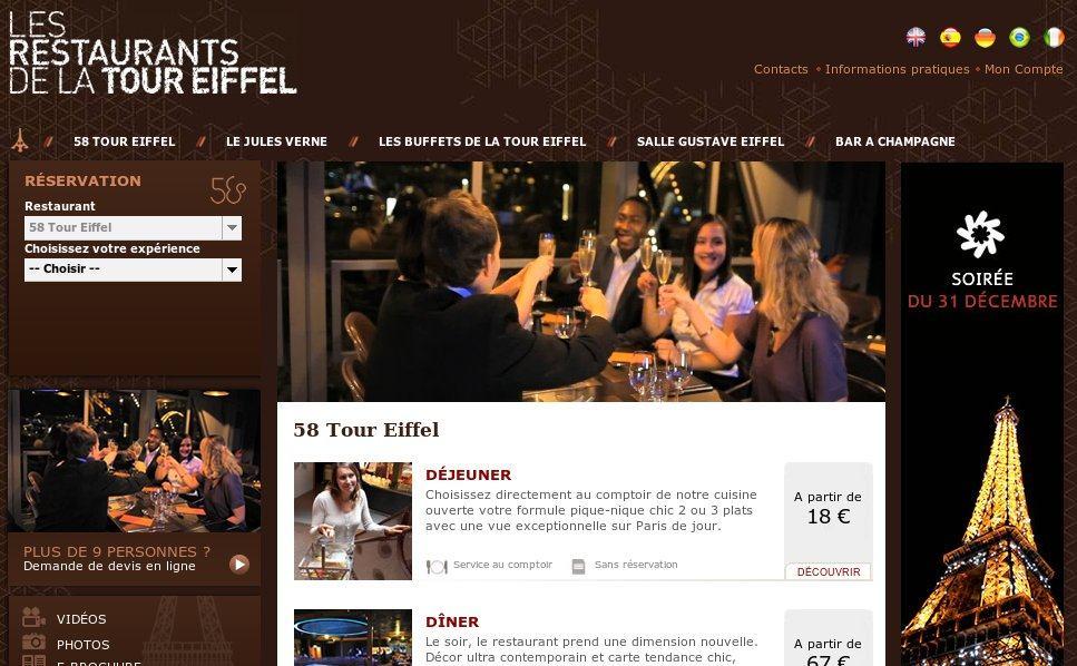 Cena de fin de año en la Torre Eiffel: Restaurante 58