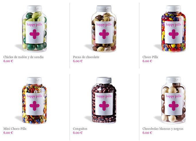 Frascos de chuches de Happy Pills