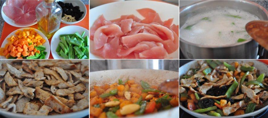 Receta paso a paso: salteado de lomo con verdura, pasas y almendras