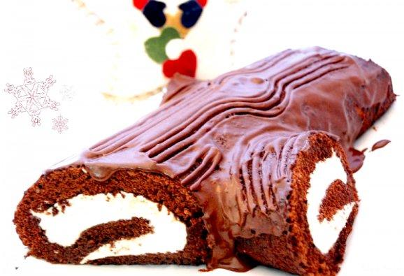 Receta del tronco de chocolate especial de Navidad, de Rosa Ardá (VelocidadCuchara)