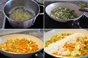 Paso a paso de la receta de arroz con ajetes y patatas