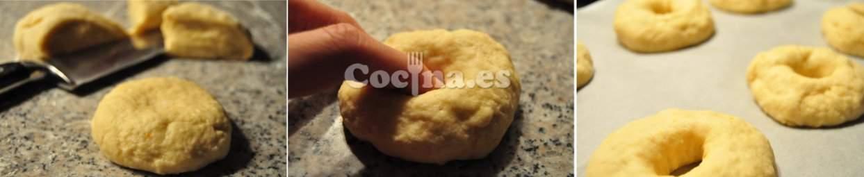 Corte de la masa en la receta del roscón de Reyes