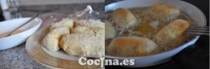 Elaboración de las croquetas de pollo: empanar, pasar por huevo y freír