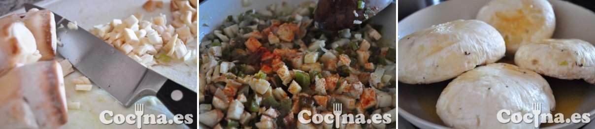 Proceso de elaboración de los champiñones rellenos
