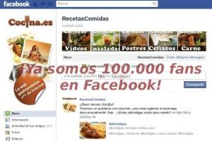 Ya somos 100.000 fans en Facebook en Cocina.es