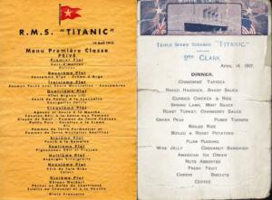 Menús de Primera y Segunda Clase del Titanic