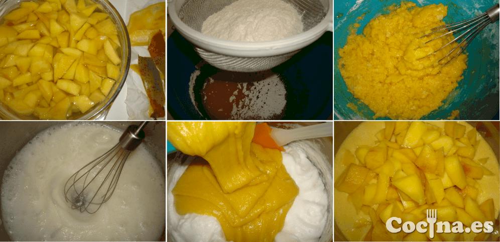 Paso a paso de la receta de pastel de mango