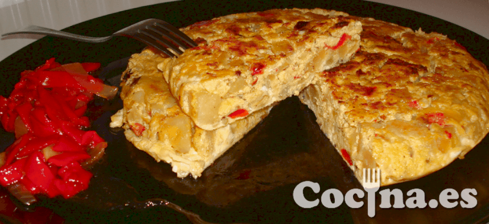Tortilla de patatas con pimientos light