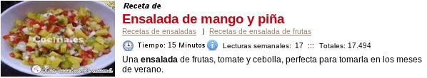 Ensalada de mango y pina en Cocina.es