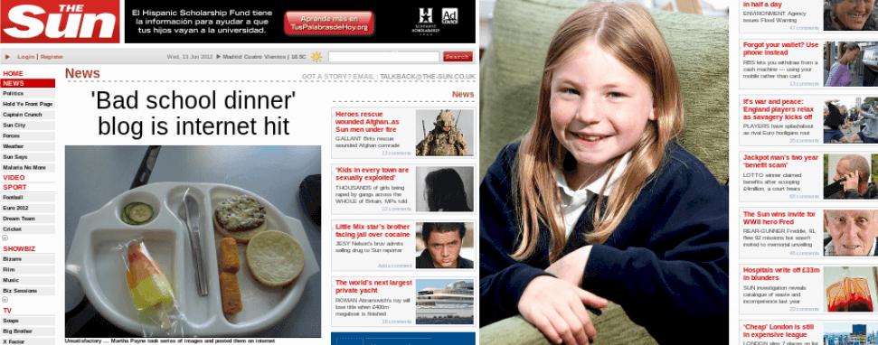 Martha Payne en el diario britanico The Sun