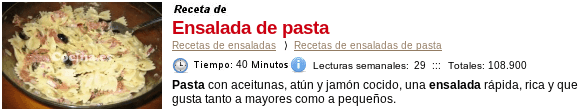 Ensalada de pasta en Cocina.es