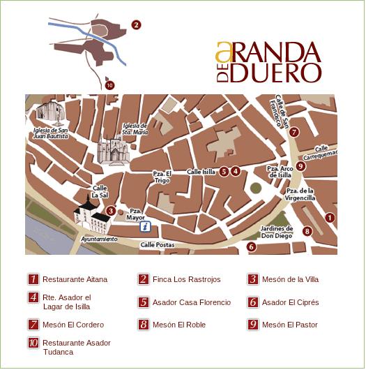 Listado y localización de los establecimientos participantes en las XIII Jornadas Gastronómicas del Lechazo Asado en Aranda de Duero