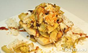 Tosta de alcachofas con queso de cabra fresco