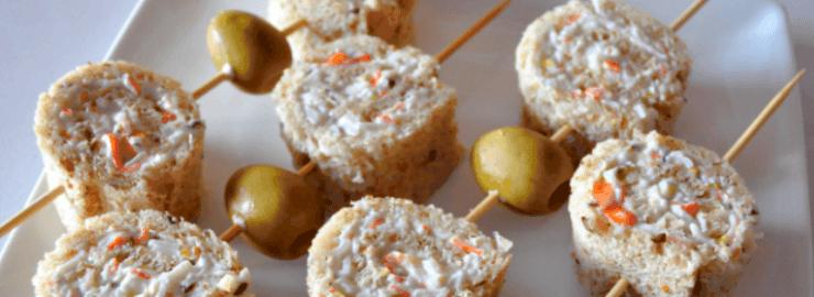 Cenas para niños: Rollitos de palitos de cangrejo y pistachos