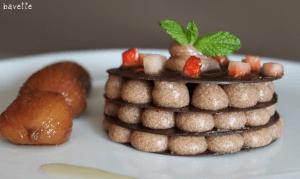 Milhojas de chocolate con crema de castañas