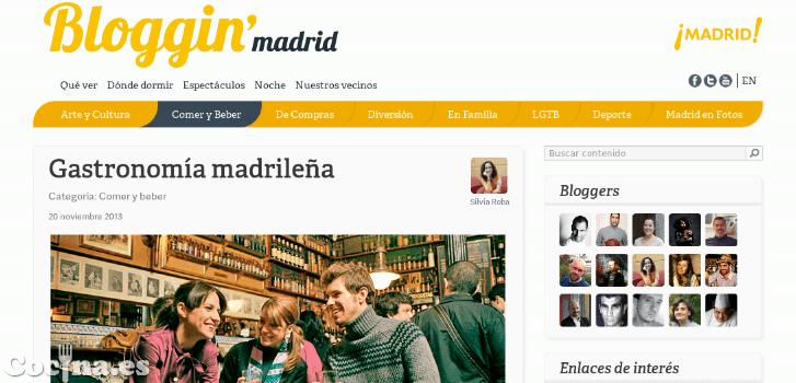 """Sección """"Comer y Beber"""" de la web Bloggin' Madrid."""