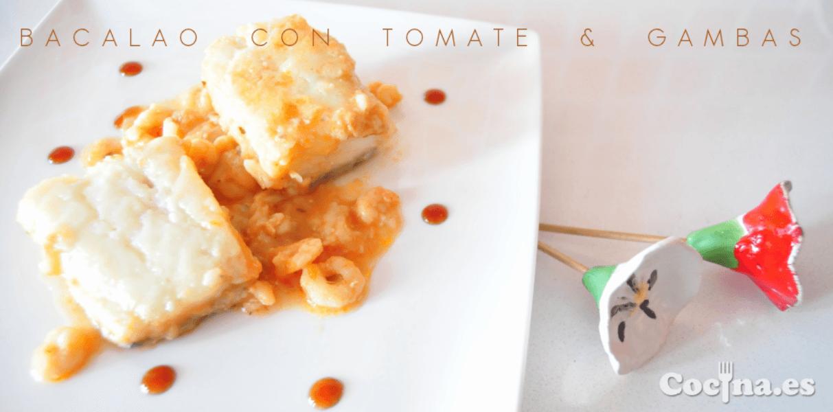 Bacalao con tomate y gambas