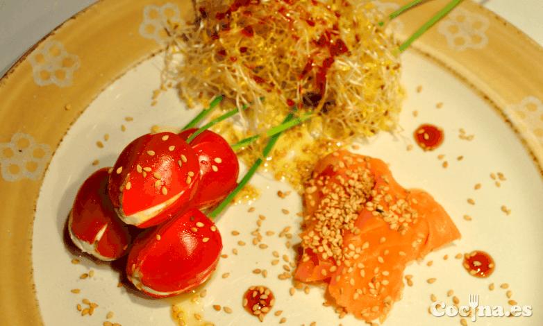 Trampantojo Tulipanes de tomate y queso