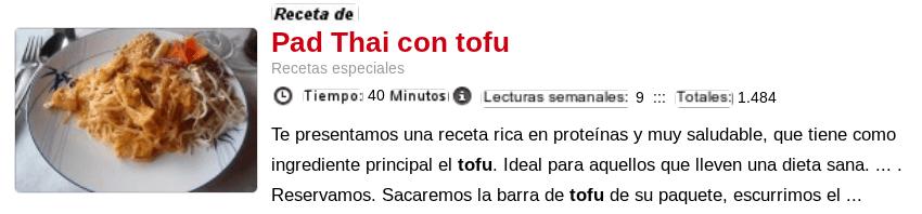 Pad Thai con tofu - Recetas con tofu