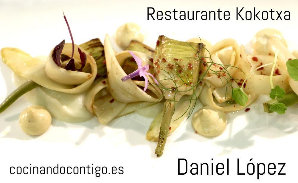 Espárragos blancos y alcachofas con topinambur y alioli de almendra tostada