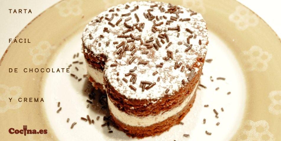 Tarta fácil de chocolate y crema