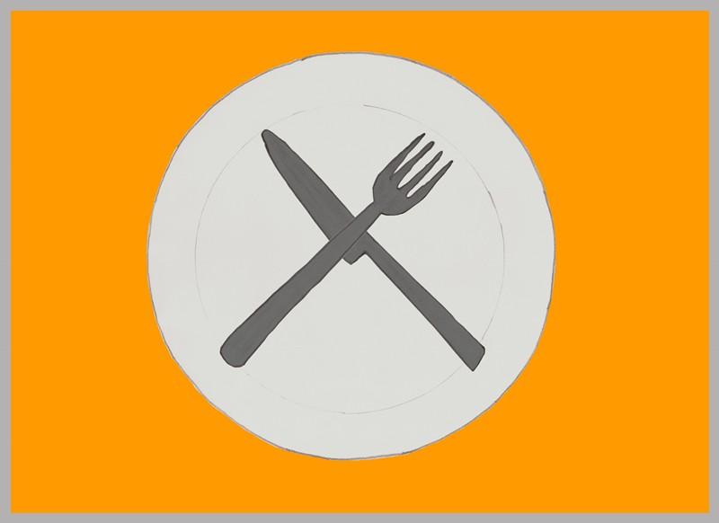 Los cubiertos cruzados formando una X en medio del plato.