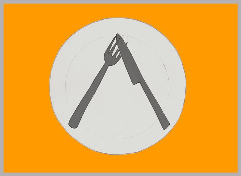 Los cubiertos en forma de V invertida, pero cruzando el cuchillo entre los dientes del tenedor.
