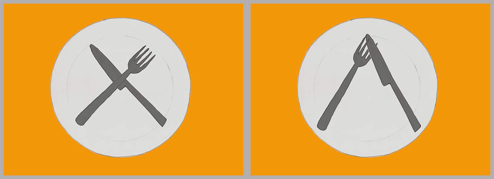 Los cubiertos cruzados formando una X en medio del plato, o en forma de V invertida, pero cruzando el cuchillo entre los dientes del tenedor.