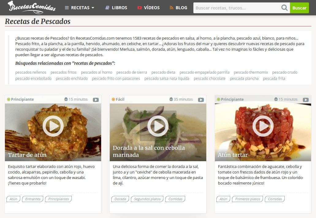 Recetas de pescado en RecetasComidas.com
