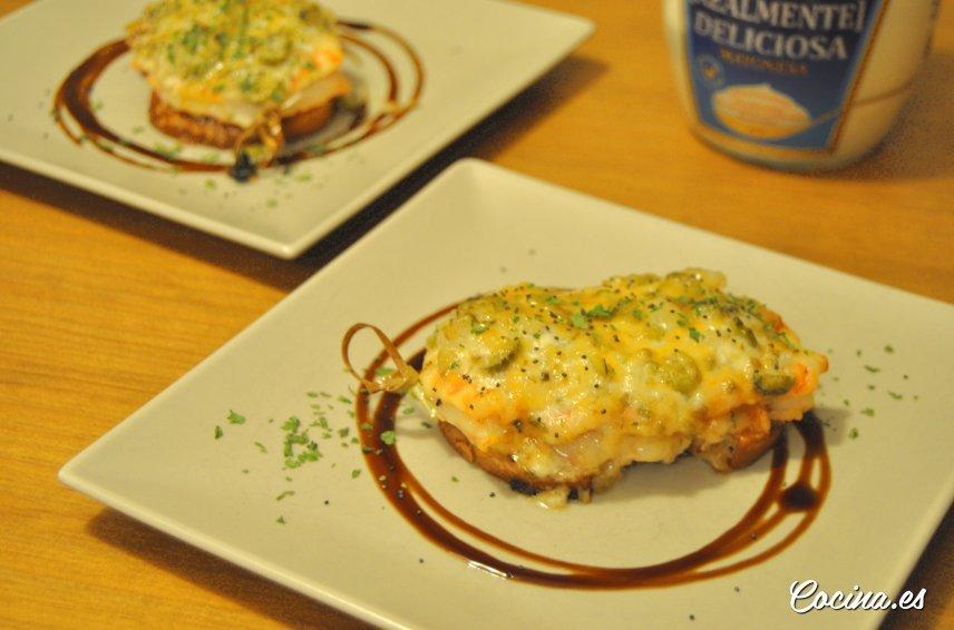 Langostinos al horno gratinados con mayonesa