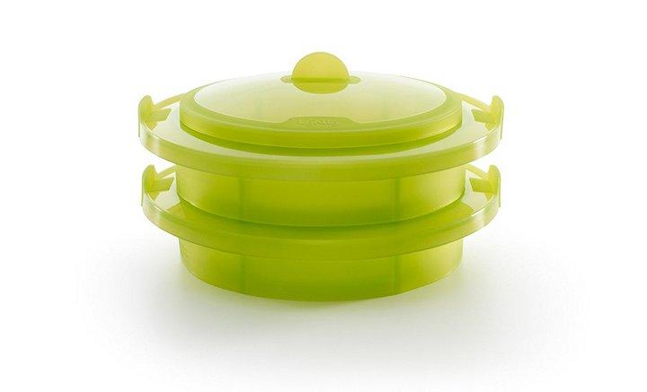 Recipientes para cocinar en Microondas al Vapor - Vaporera de Silicona Doble Cuerpo Lekue