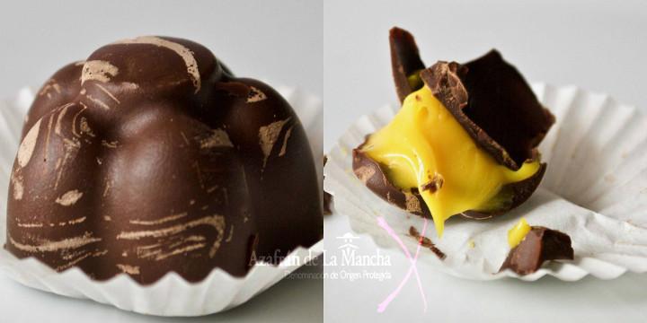 Postres con Azafrán: Bombones rellenos de chocolate blanco al azafrán